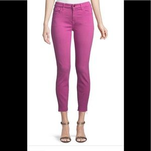 Jen 7 for all Mankind fuchsia cropped skinny jeans